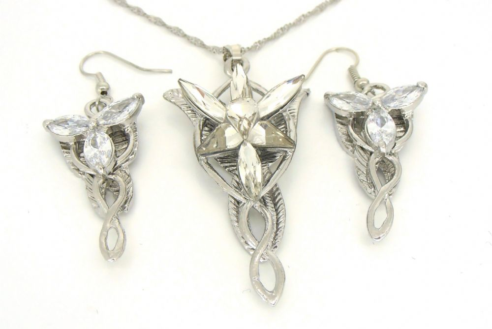 lord of the rings arwen evenstar pendant and earring set